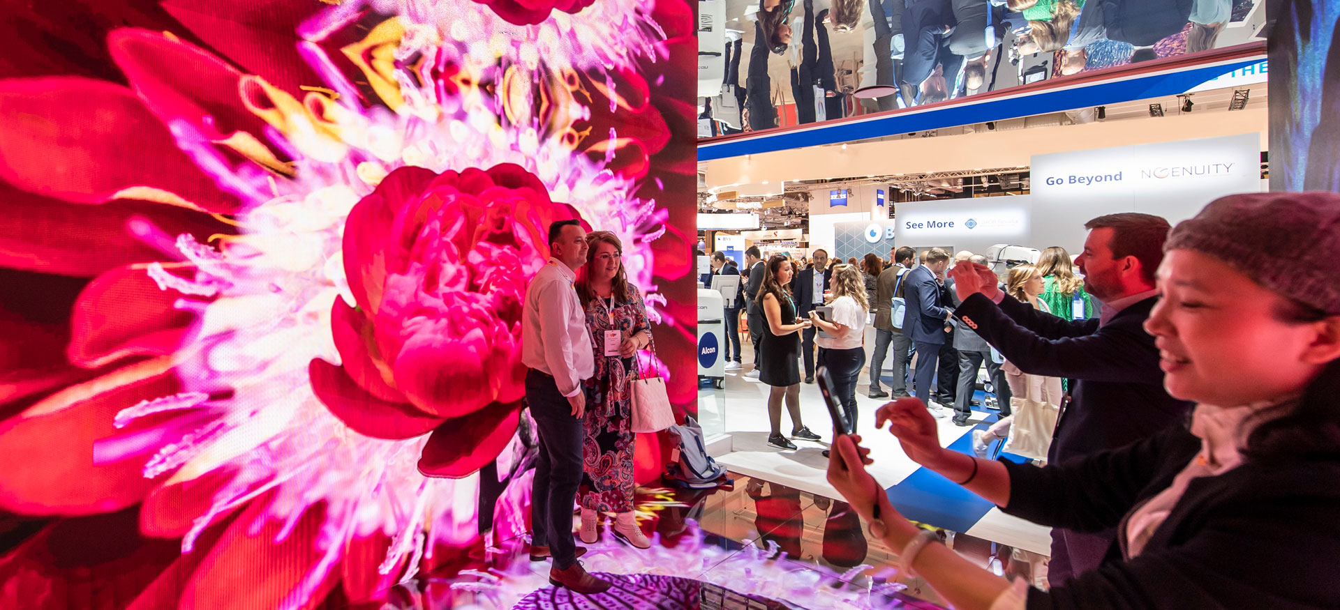 Immersive video technology within live event exhibition design for Alcon, by MCCGLC